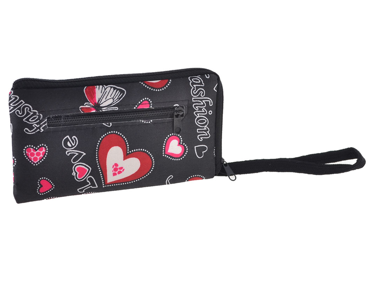 Lady Handheld Letters Pattern Inner Lining L Design Pouch Coin Bag Black Fuchsia