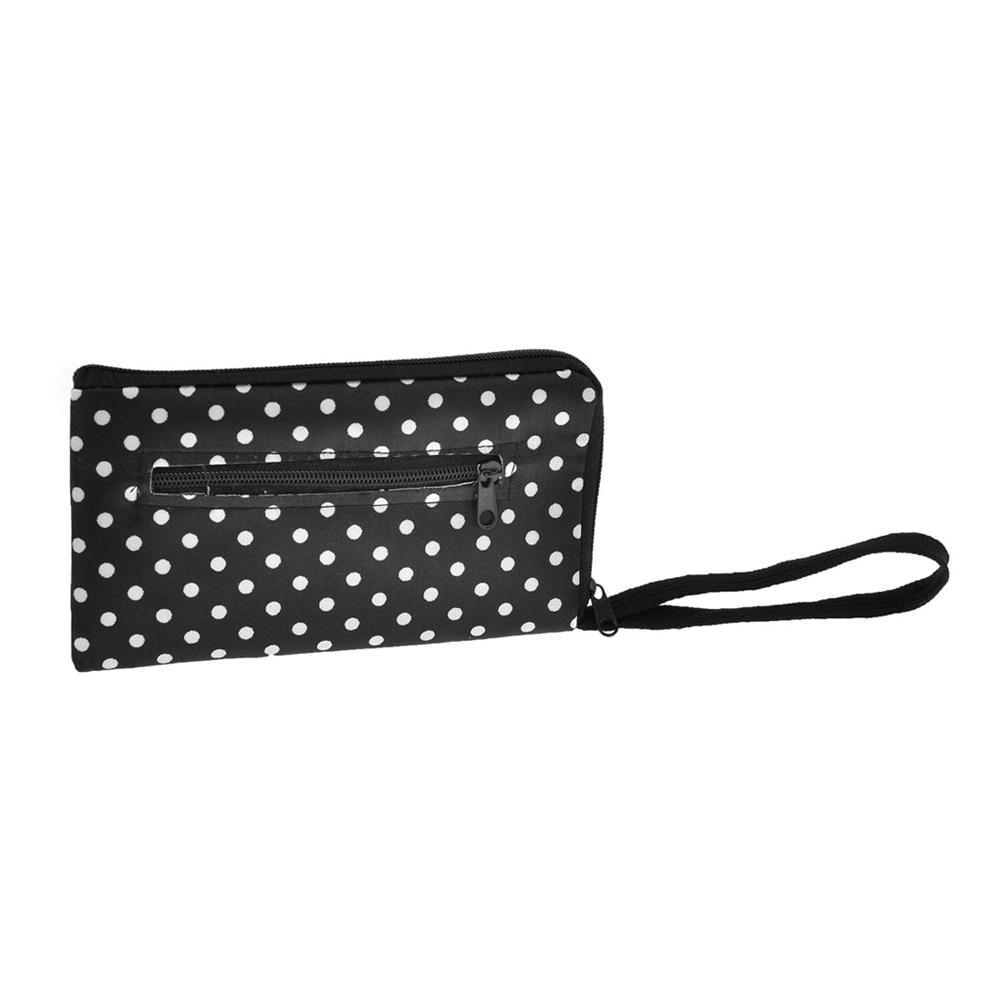 White Polka Dots Print Polyester Zip Closure L Shape Pouch Purse Wallet Black