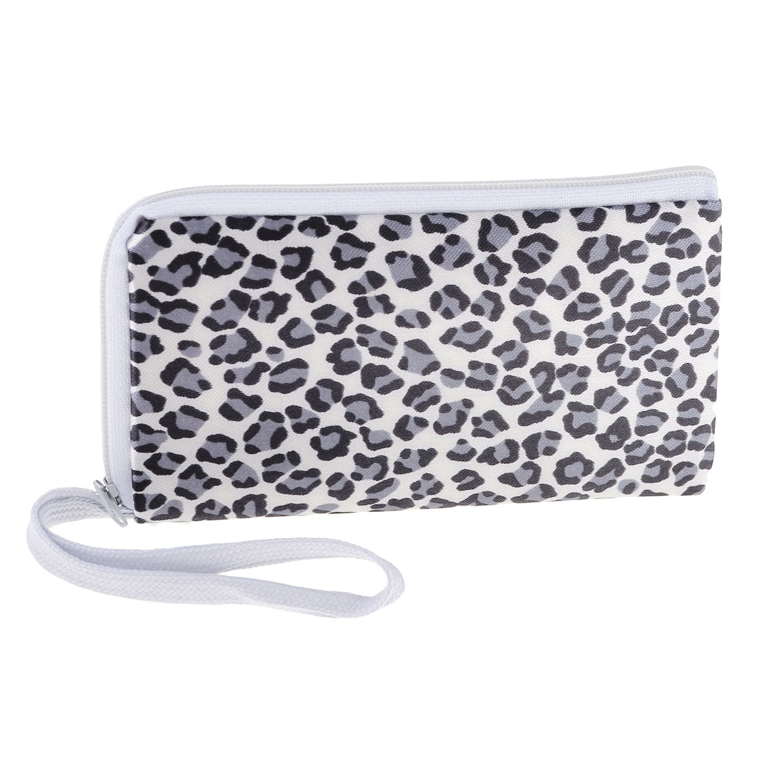 Ladies Black Gray Leopard Printed Double Zip Up Keys Phone Bag White w Wristlet