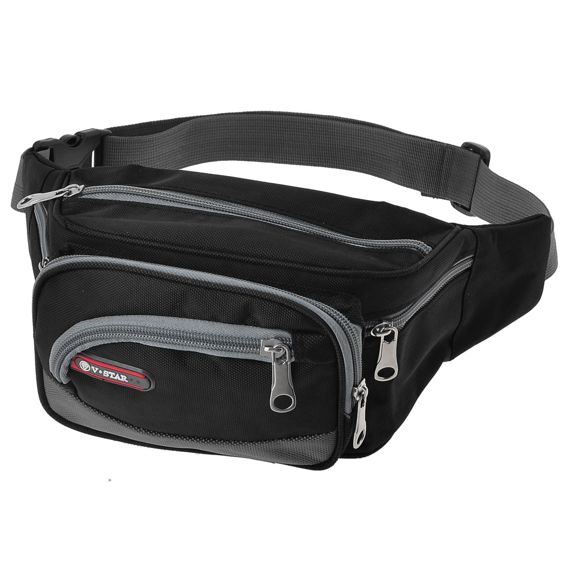 Hiking Side Zip Pockets Adjustable Belt Waist Pack Bag Black Gray for Men