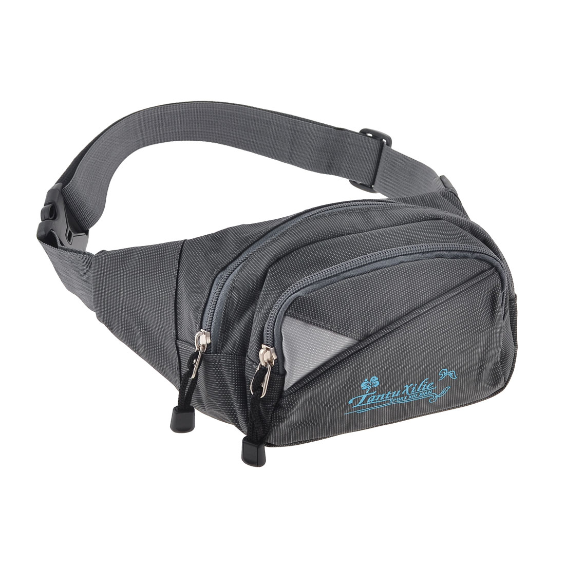 Men Riding Portable Zipper Closure 3 Compartments Nylon Casual Waist Pack Gray