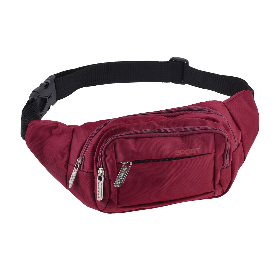 Men Riding Portable Three Zip Compartments Nylon Waist Pack Bag Red