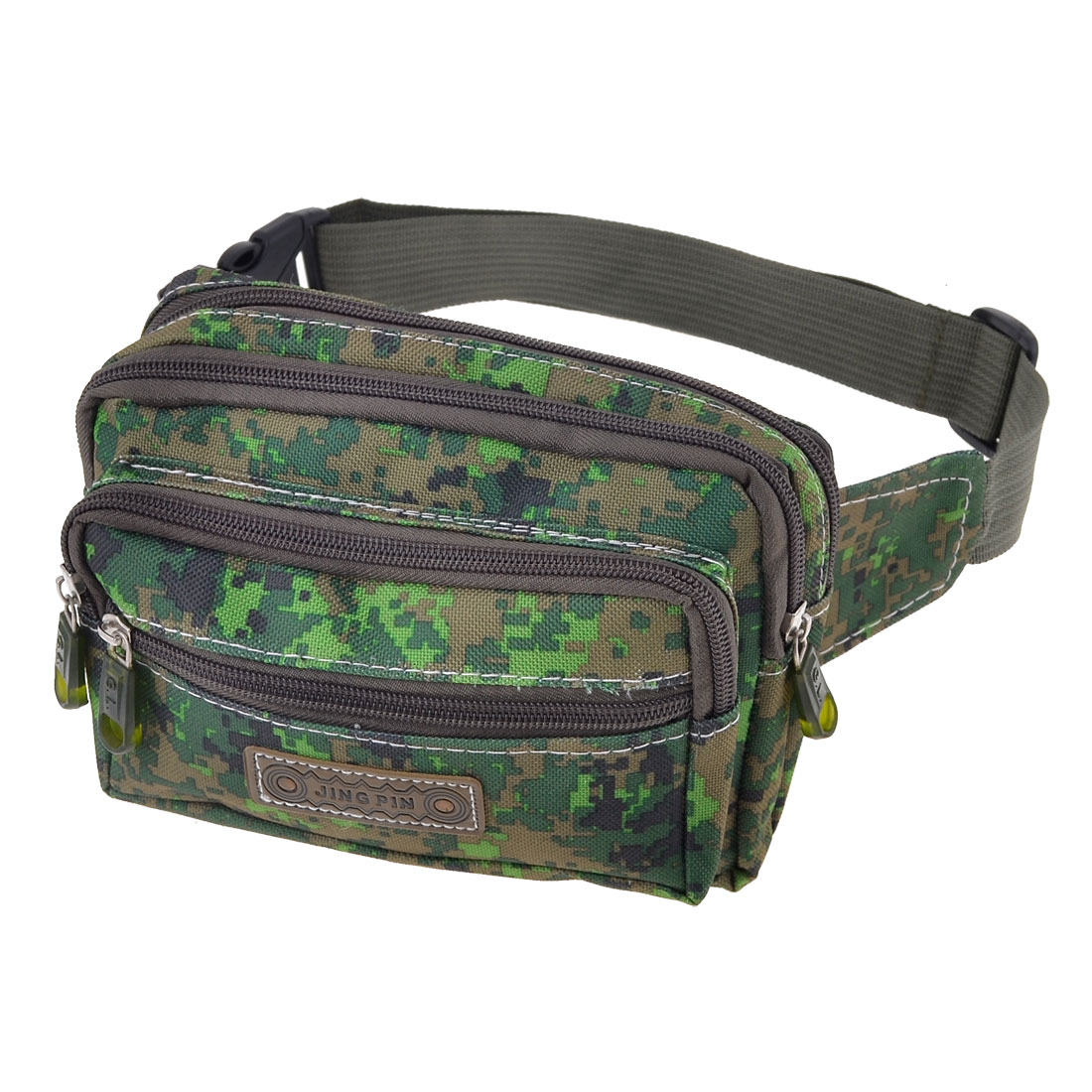 Portable Zipper Closure 4 Compartments Nylon Waist Pack Army Green for Soldier