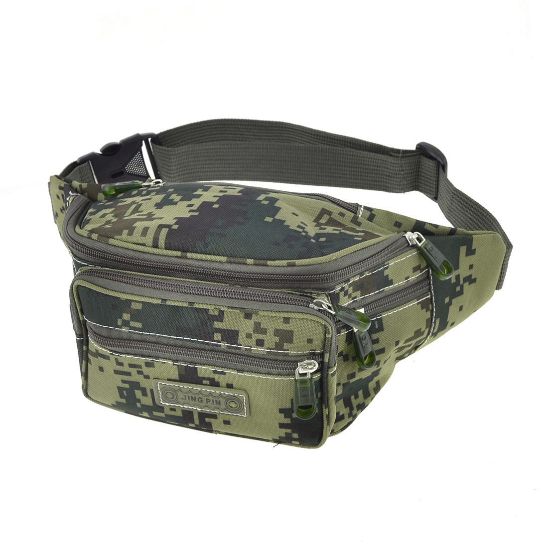 Men Camouflage Print Release Buckle Fastener Adjustable Waist Pack Oliver Green