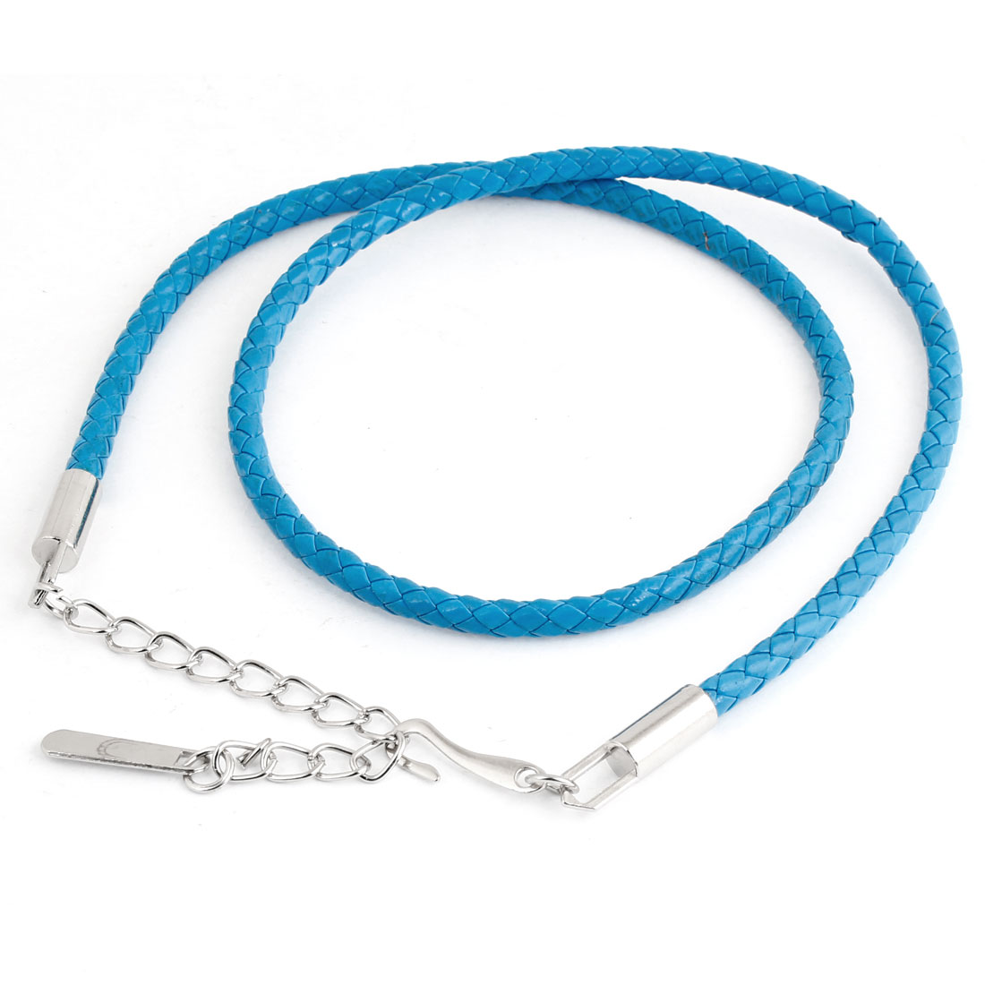 Metal Hook Buckle Knit Style Faux Leather Chain Belt Waist Blue for Women