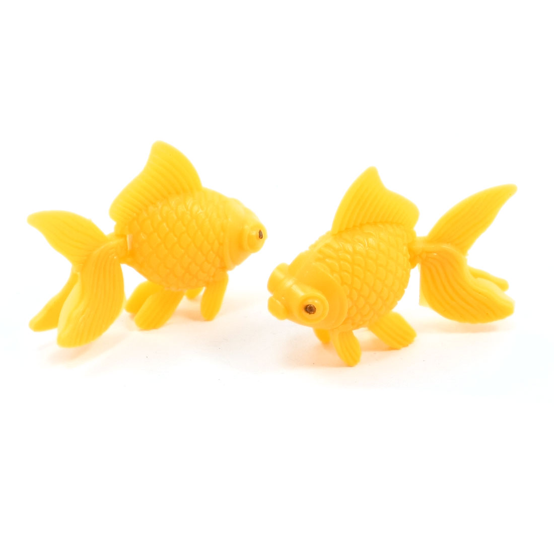 2 Pcs Yellow Emulational Artificial Plastic Goldfish for Fish Tank