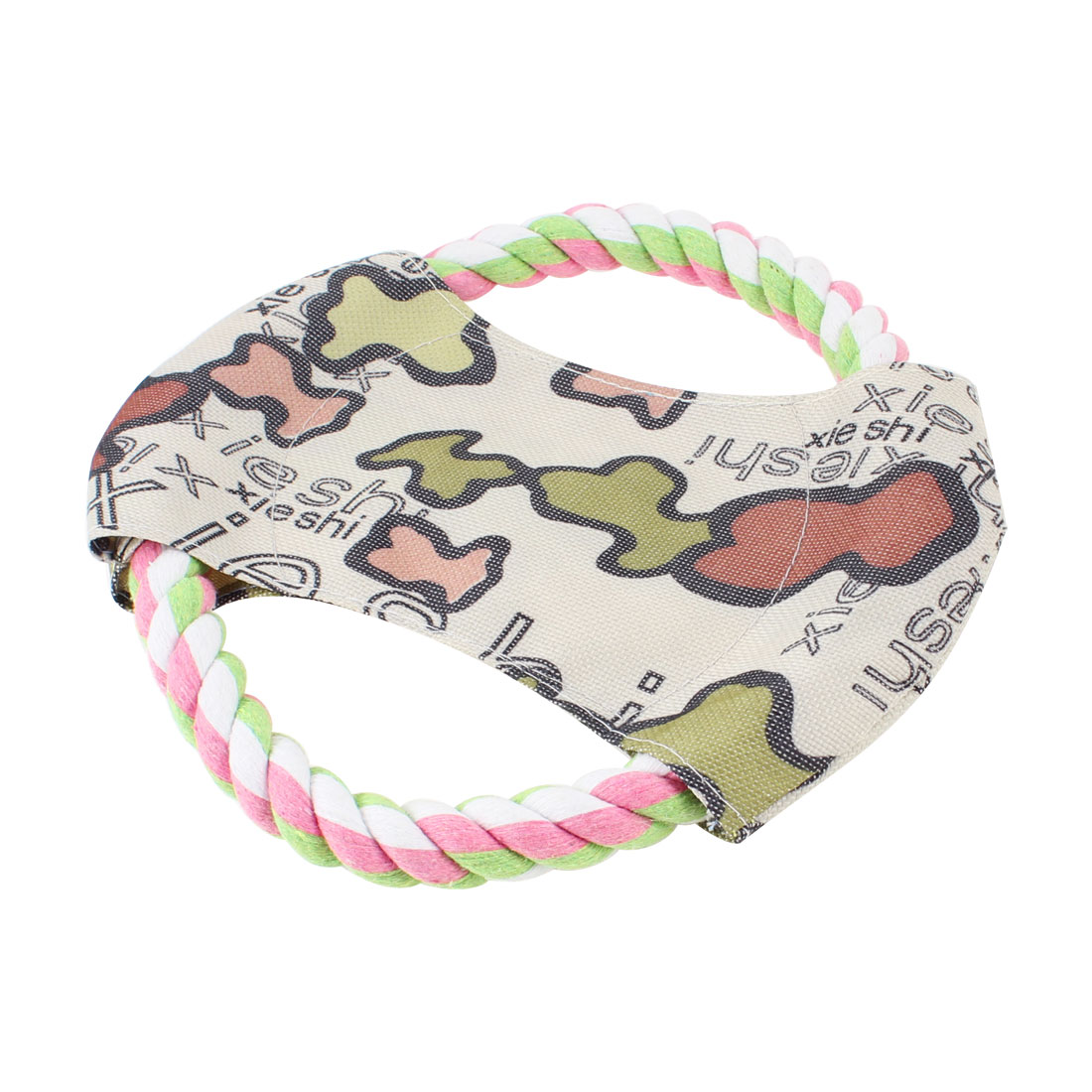 Pet Dog Puppy Fetch Game Pink Green Knot Cotton Rope Frisbee Flyer Toy