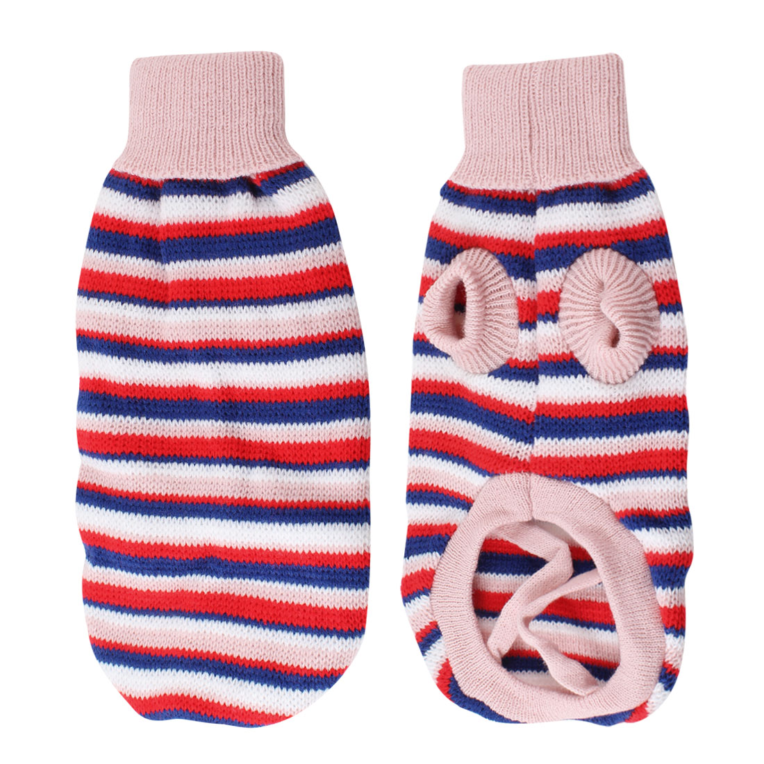 Pet Dog Yorkie White Red Stripe Pattern Knitted Sleeves Sweater Apparel Size XS
