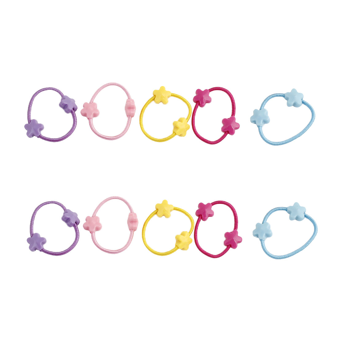 Elastic Rubber Mini Five-pointed Star Accent Hair Band Ponytail Holder Assorted Color 10pcs