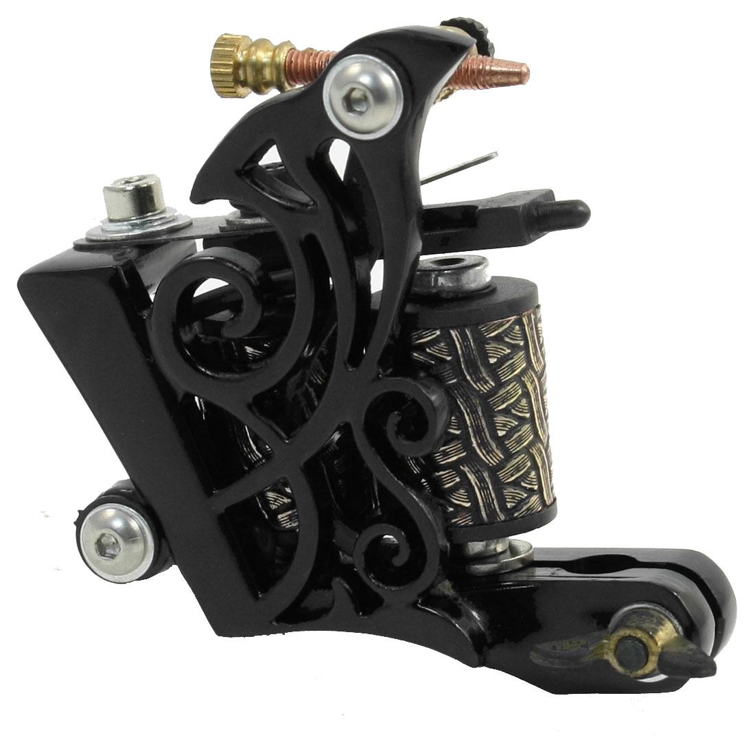Handmade Black Swirl Decor Liner Shader Tattoo Machine Gun 10 Wraps Coil