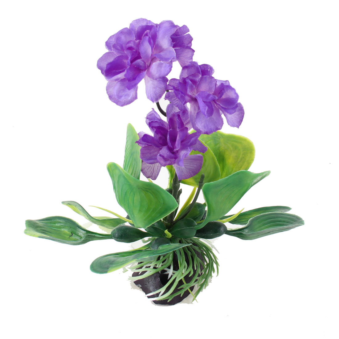 "6.9"" Height Purple Green Aquatic Emulation Floral Plant Ornament for Fish Tank"
