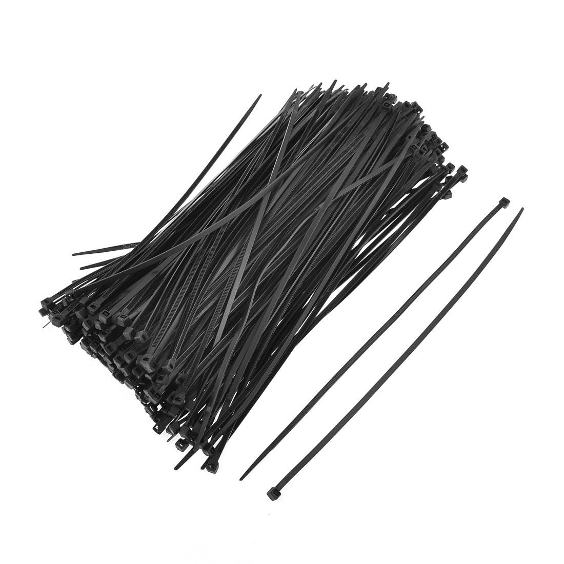 "250 Pcs 5mm Width Black Nylon Cable Cord Wire Zip Tie Organizer 10"""