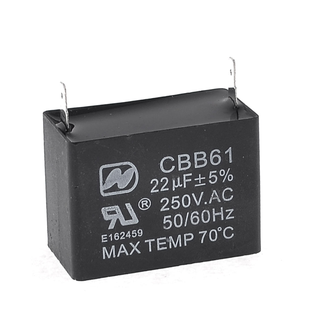 CBB61 Polypropylene Film Motor Run Capacitor 2 Terminals 22uF AC 250V Black