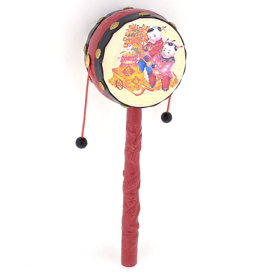 Tradition Chinese Kids Printed Handshake Music Rattle Drum Red Beige for Baby