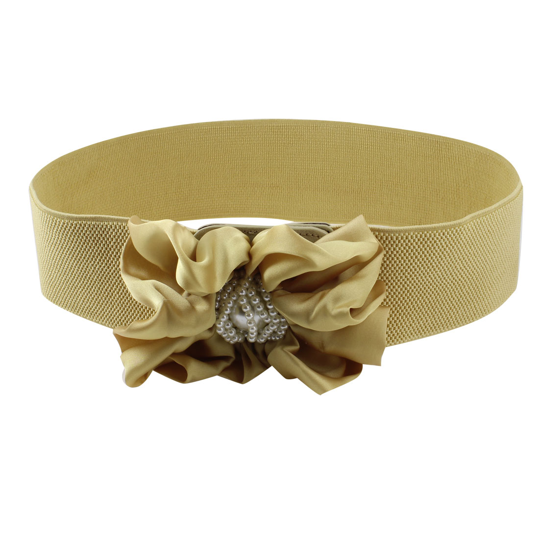 Women Champagne Color Floral Decor Press Stud Button Closure Cinch Belt