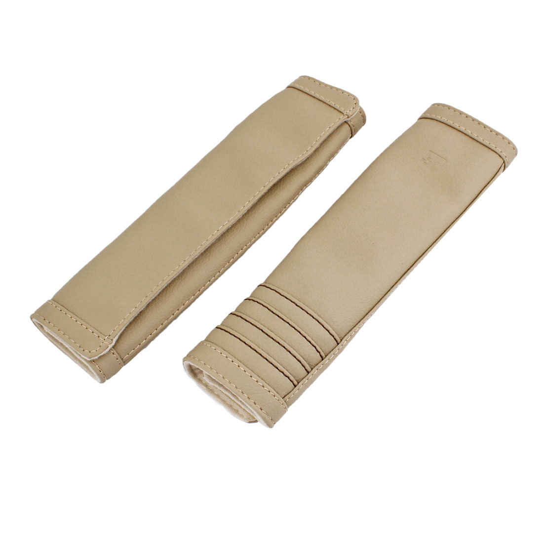 2 Pcs Beige Faux Leather Car Safety Seat Belt Cover Shoulder Protector Pad