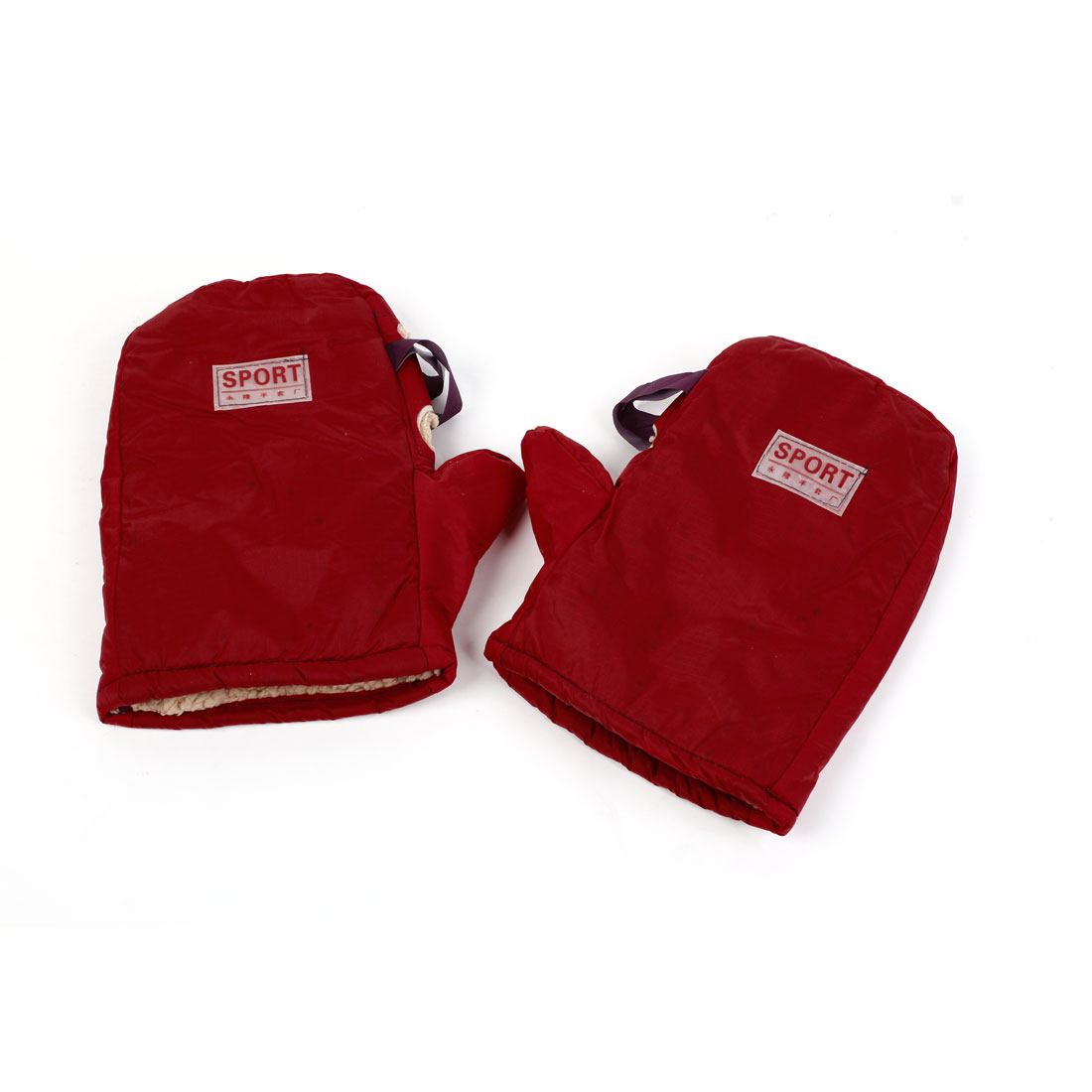 Bike Snowmobile Motorcycle Mitts Cottons Lining Handlebar Mittens Red Pair