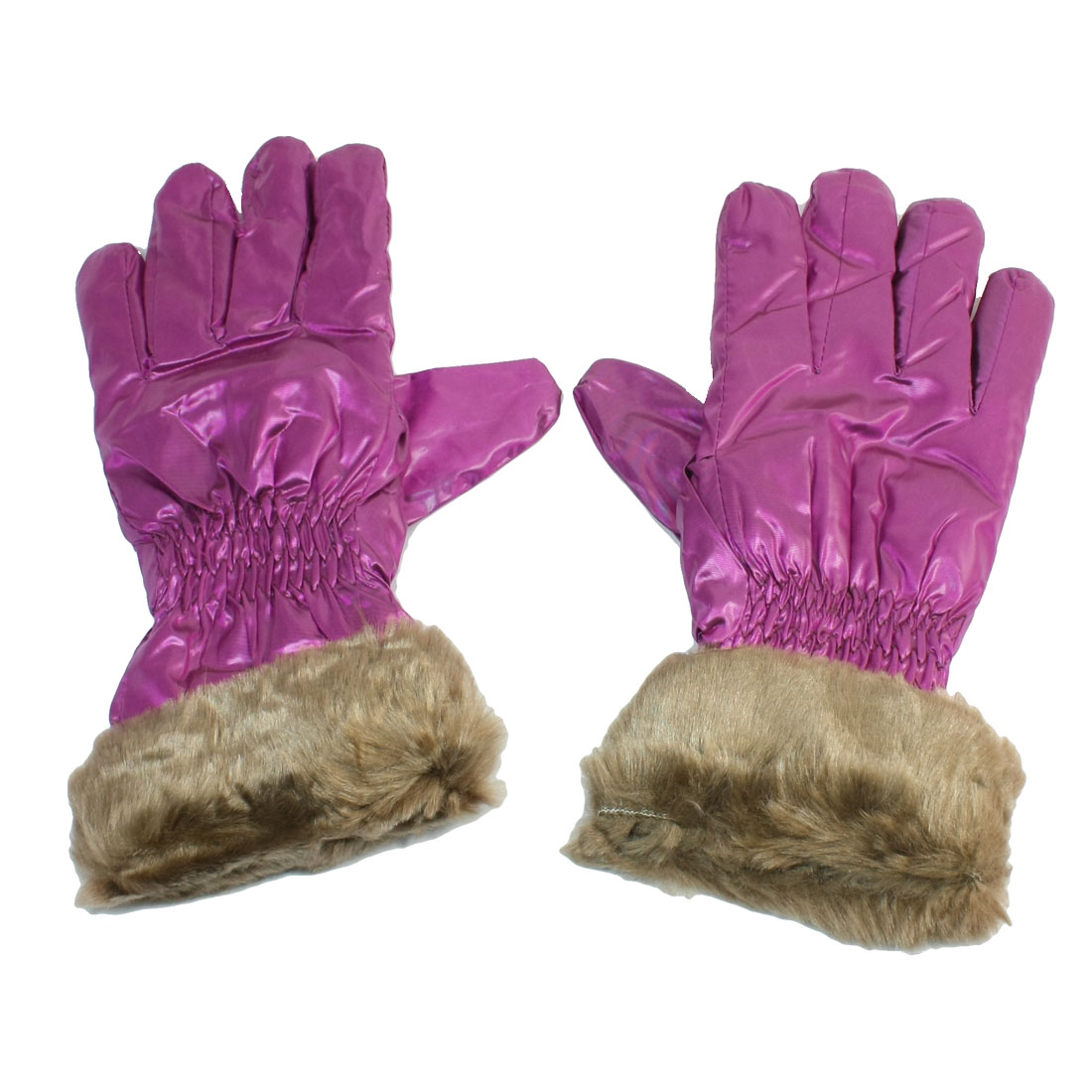Ladies Ruched Decor Full Finger Winter Warm Gloves Purple Brown Pair