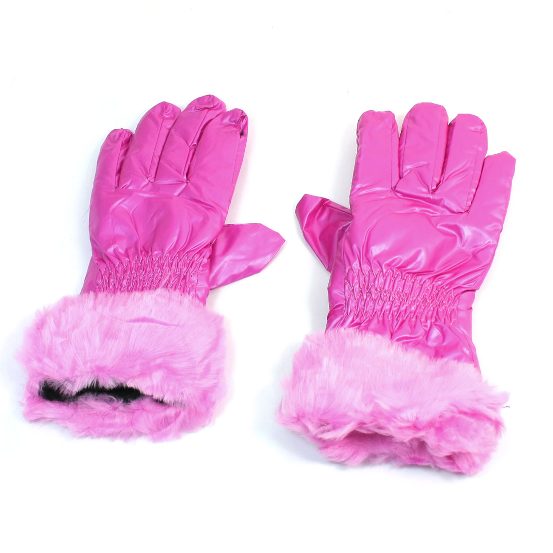 Lady Women Ruched Decor Full Finger Winter Warm Gloves Fushcia