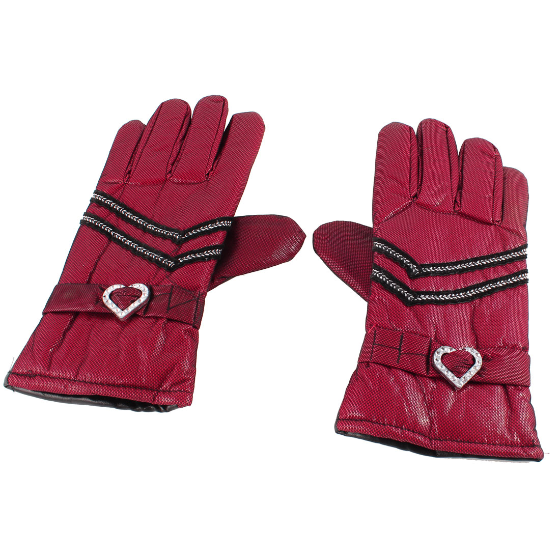 Outdoor Red Black Faux Leather Full Finger Winter Warm Gloves Pair