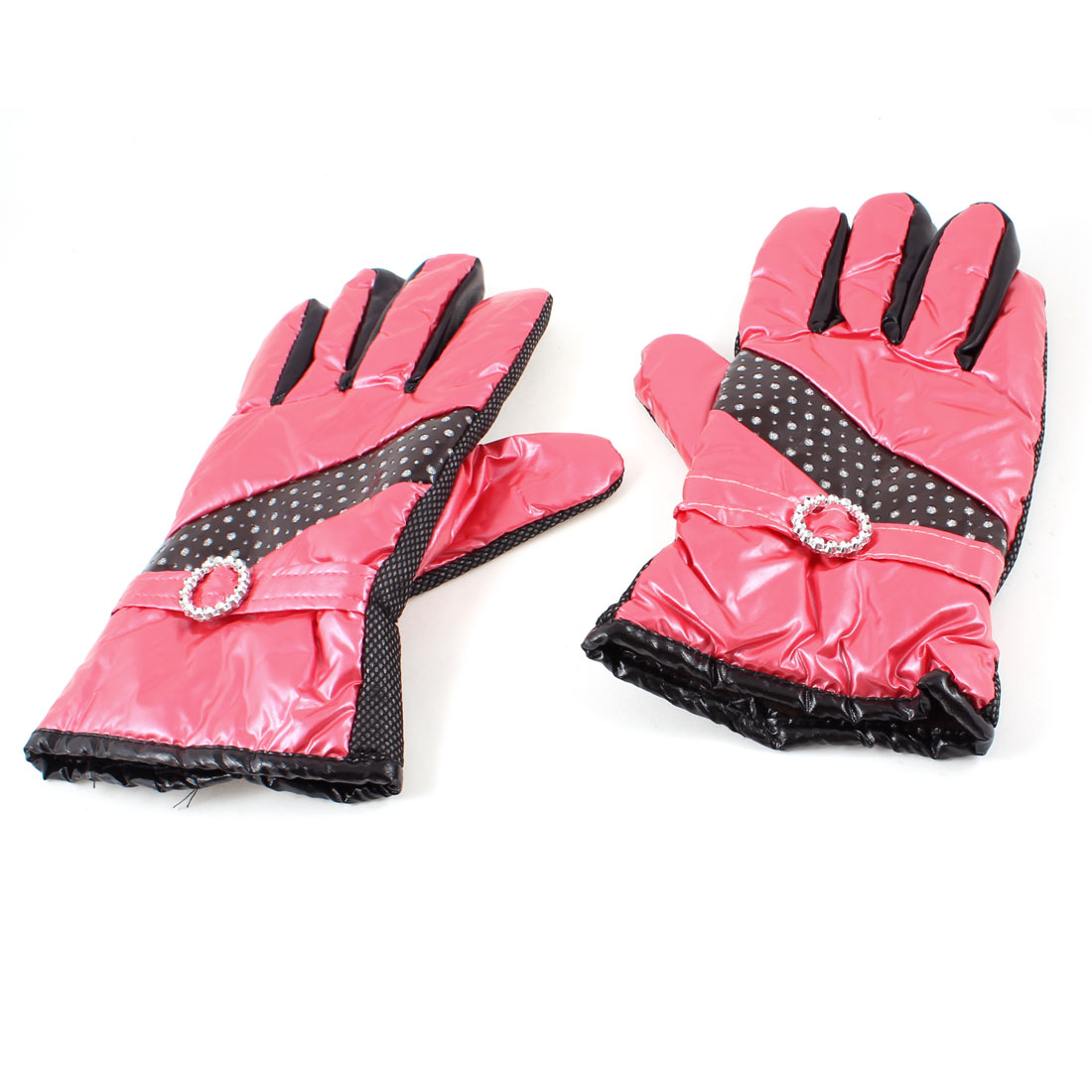 Ladies Winter Outdoor Cycling Faux Leather Full Finger Warm Gloves Red Pair