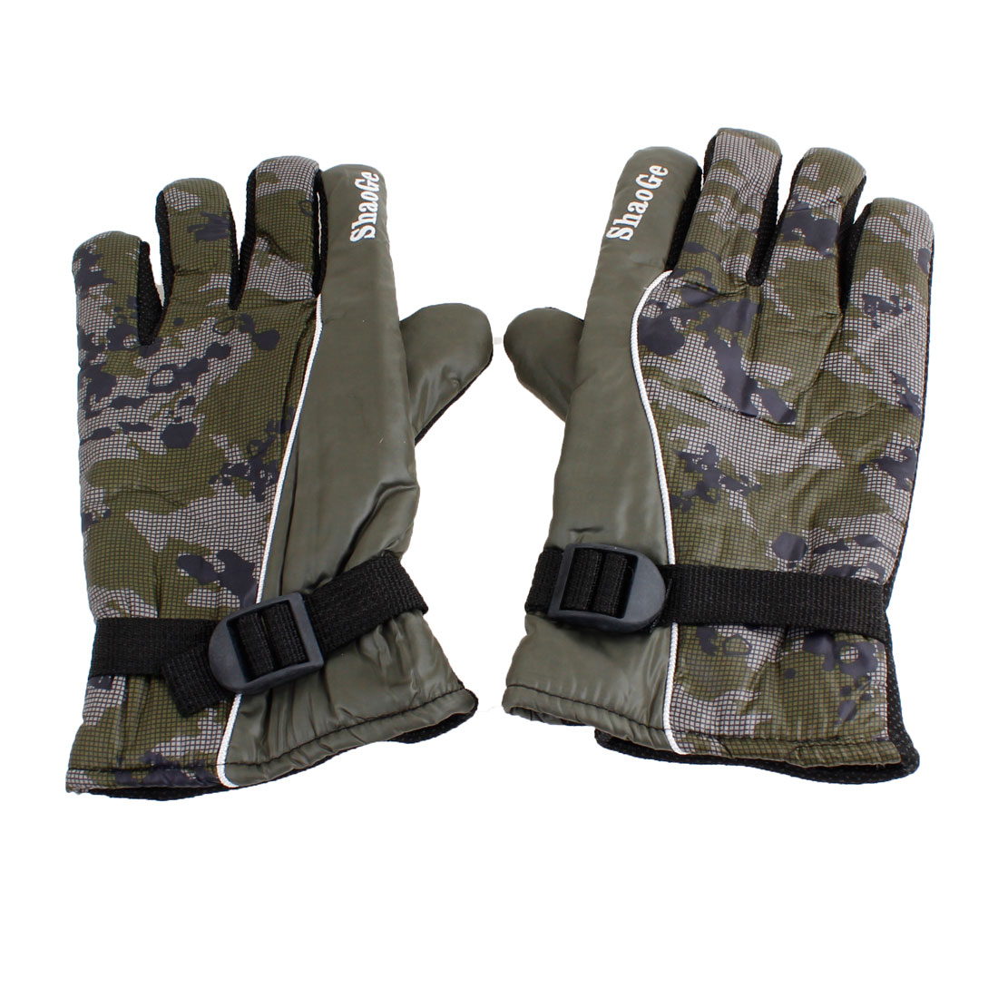Camouflage Pattern Hand Warmer Winter Warm Gloves Army Green Pair for Man