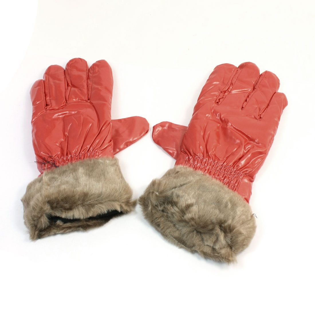Adult Orange Brown Faux Leather Fleece Hand Warming Full Fingers Winter Gloves