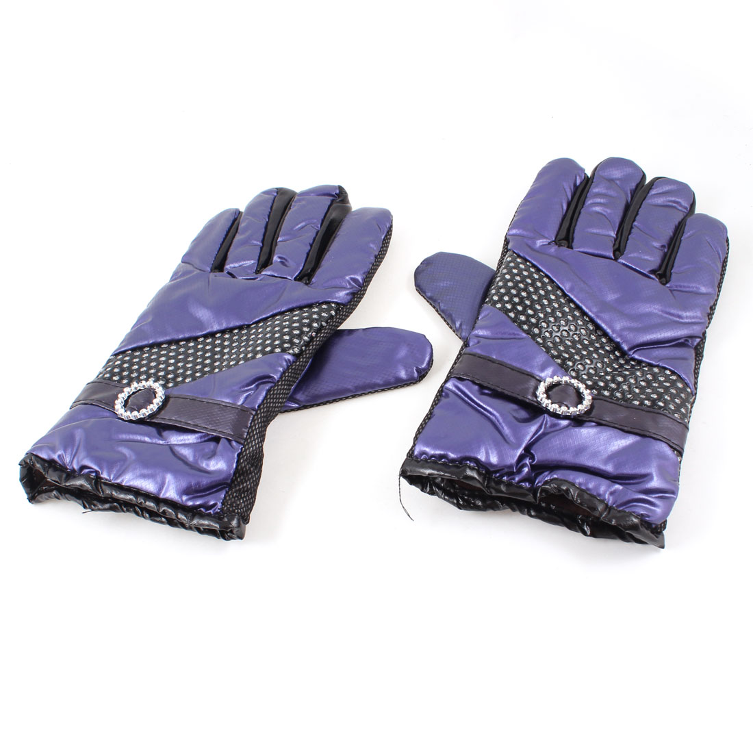 Ladies Outdoor Cycling Faux Leather Full Finger Warm Gloves Dark Purple Pair