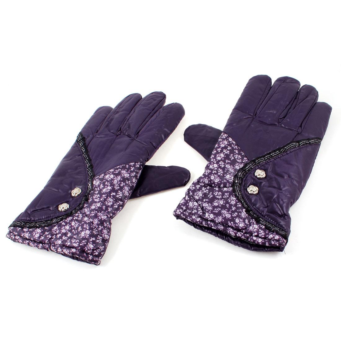 Cycling Windproof Fleece Lining Full Finger Warm Gloves Dark Purple Pair for Ladies