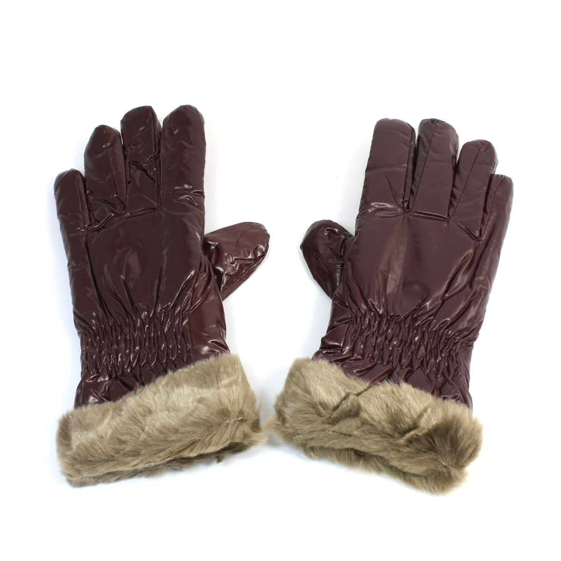 Women Ladies Burgundy Faux Leather Winter Gloves Ornament Brown