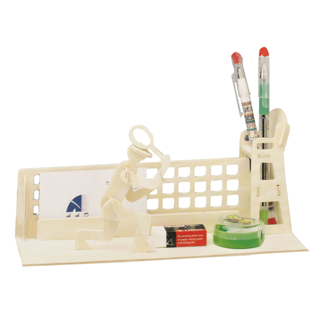 Children Woodcraft Construction 3D Tennis Pen Holder Container