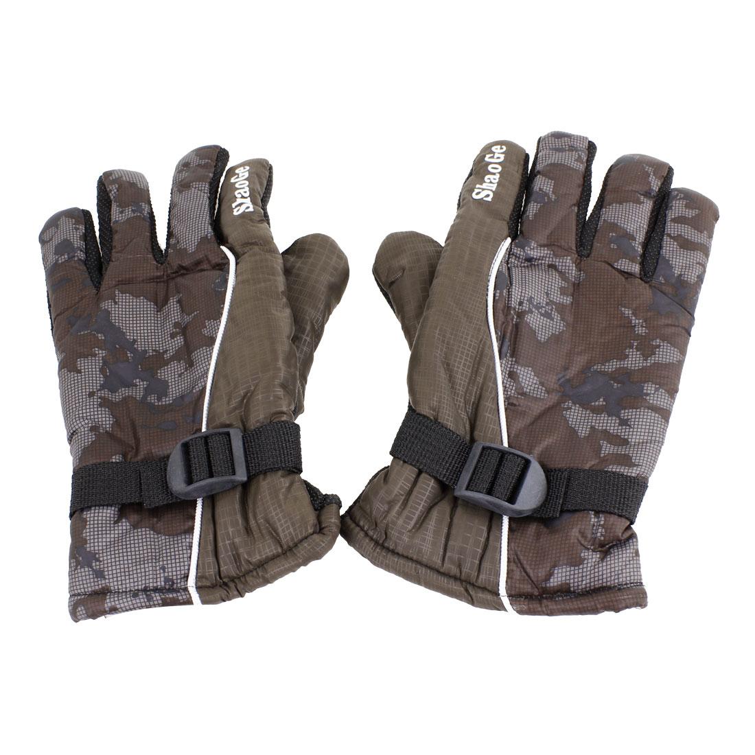 Pair Fleece Lining Camouflage Print Full Finger Winter Gloves Dark Gray for Men