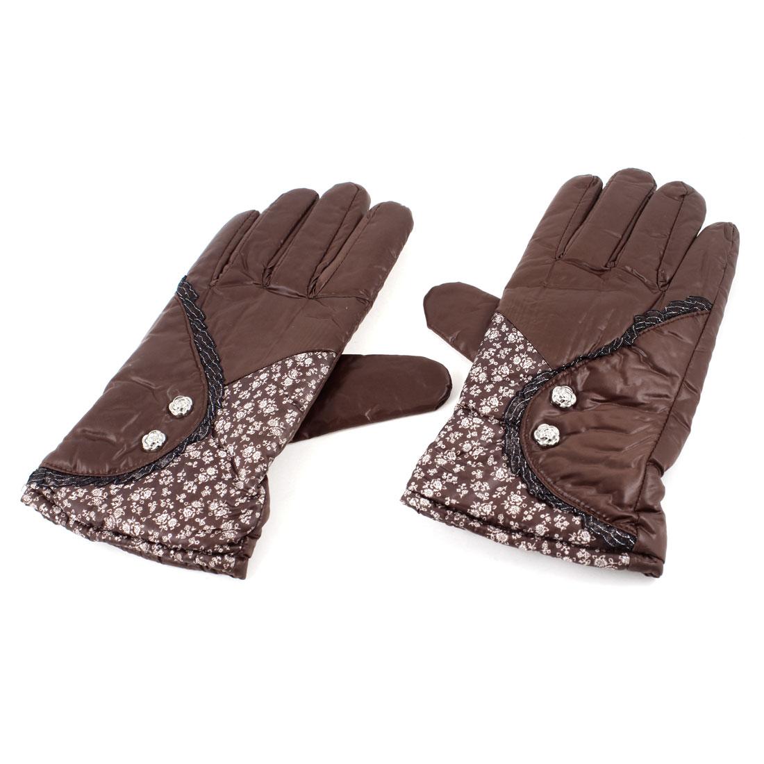 Winter Wrist Hand Warmer Floral Pattern Warm Gloves Brown Pair for Women