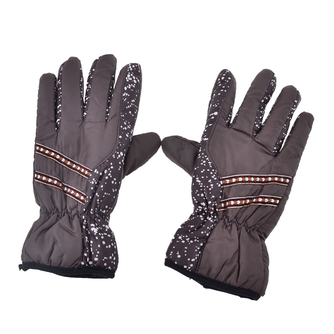 Pair Elastic Cuff Dots Print Full Finger Warm Gloves Coffee Color for Women