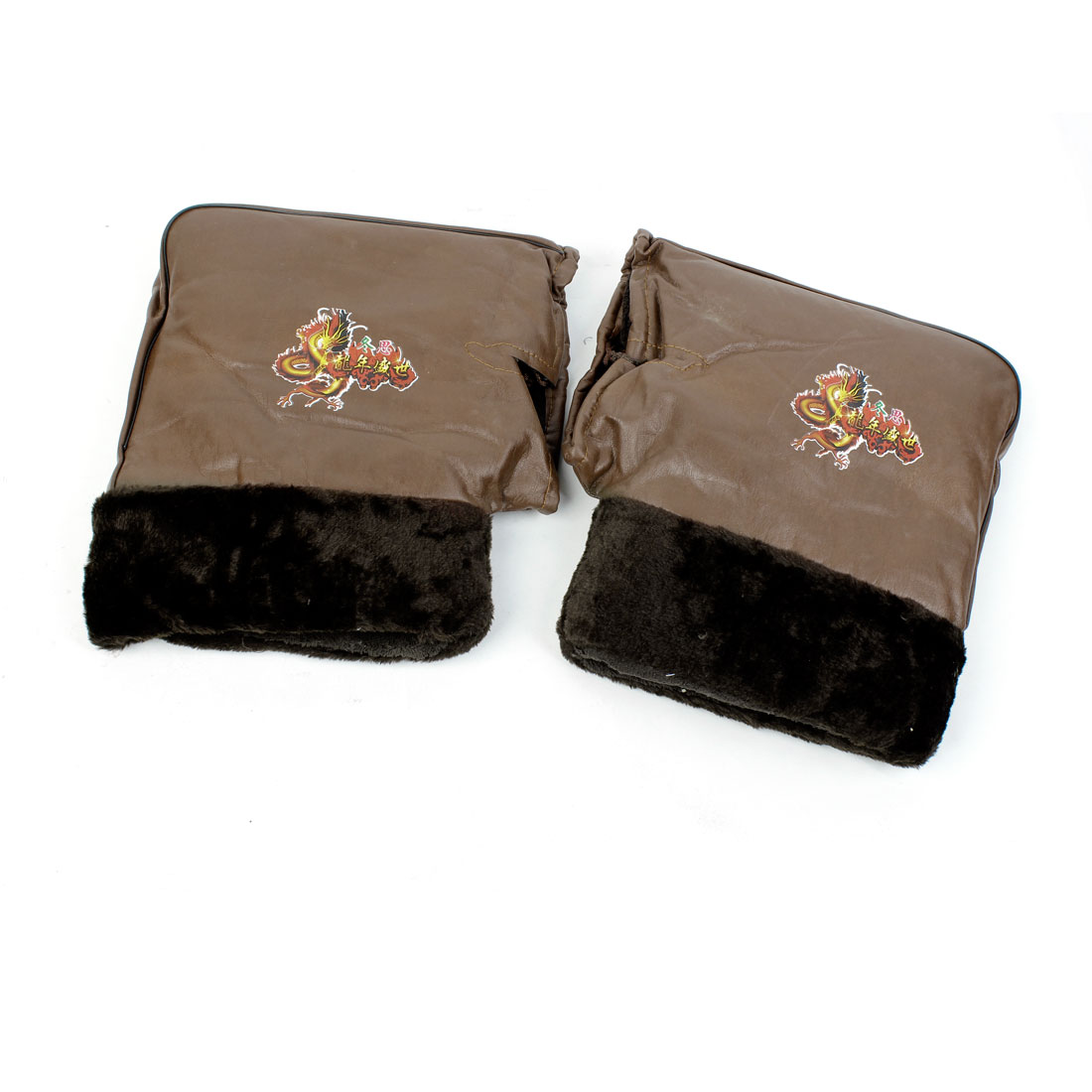 Man Warmer Faux Leather Plush Lining Brown Sports Motorcycle Mitten Gloves Pair