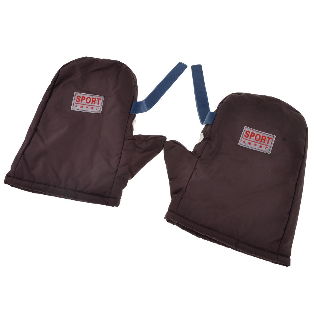 Man Warmer Mini Grids Print Plush Lining Burgundy Sports Mitten Gloves Pair