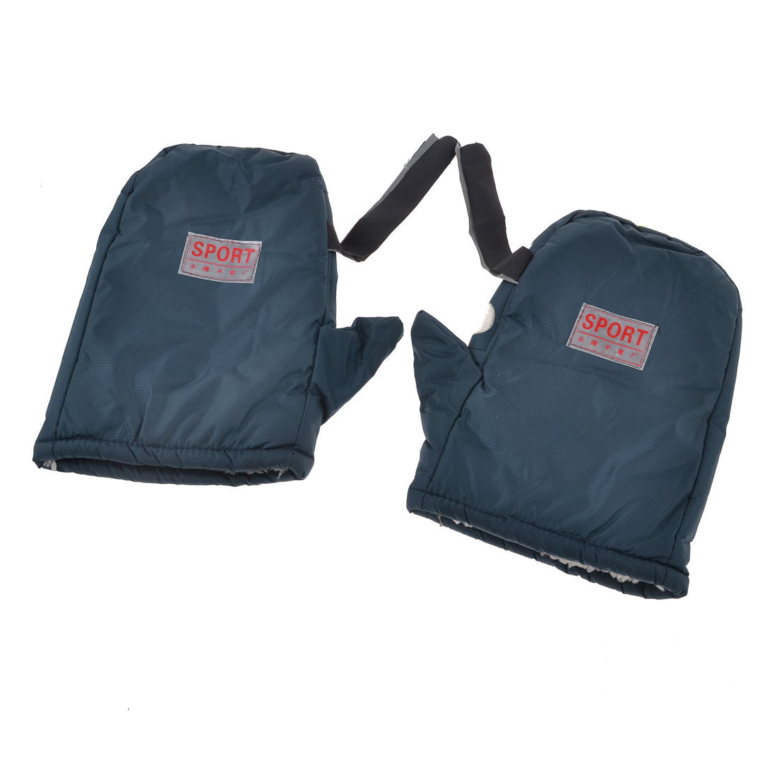 Man Warmer Mini Grids Print Plush Lining Navy Blue Sports Mitten Gloves Pair
