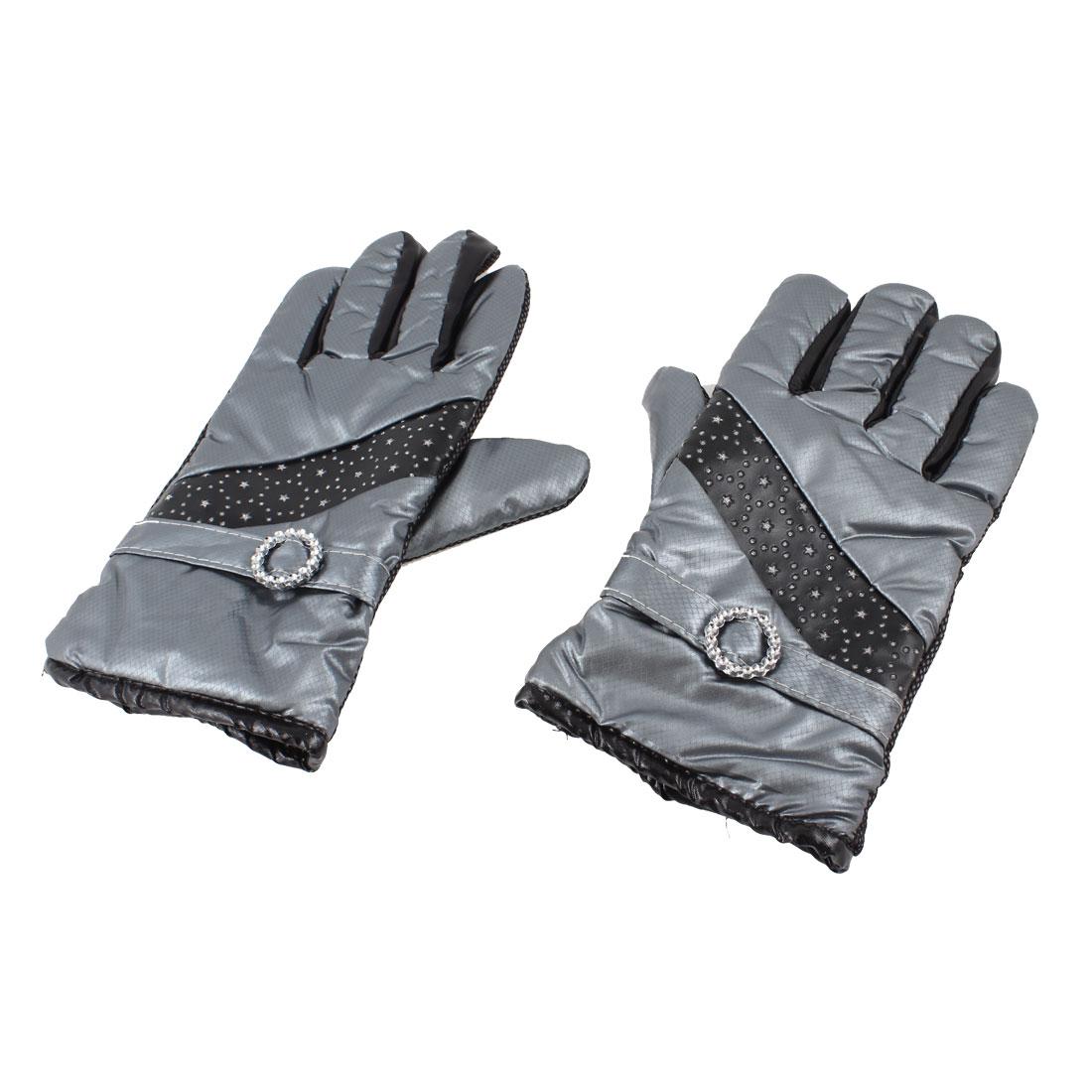 Gray Winter Wrist Hand Warmer Sequin Powder Decor Warm Gloves Pair for Women