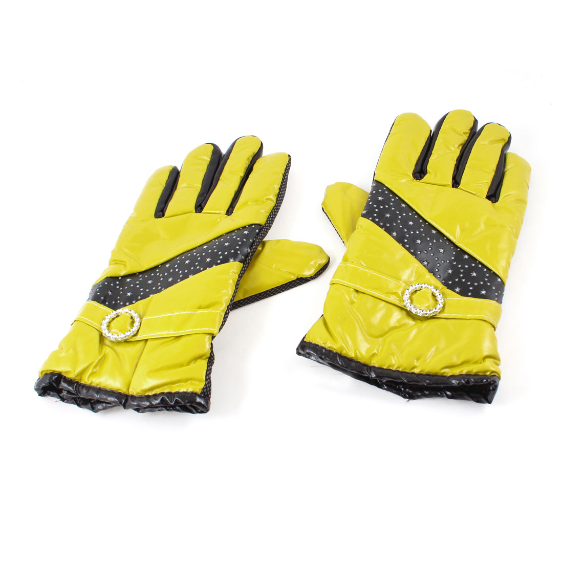Lady Pair Fleece Lining Hand Warming Full Finger Faux Leather Warm Gloves Yellow