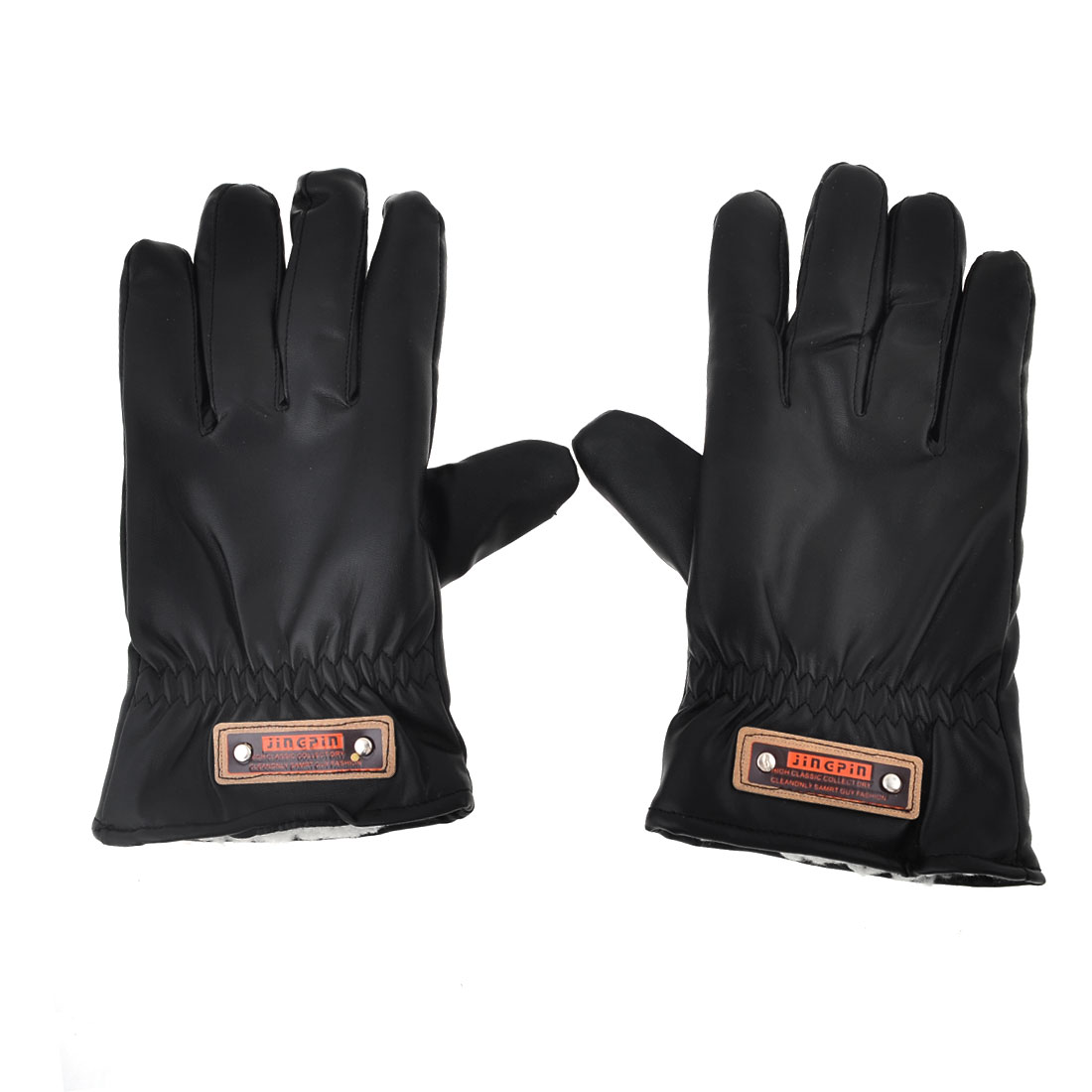 Ladies Black Faux Leather Hand Protective Winter Outdoor Gloves Pair
