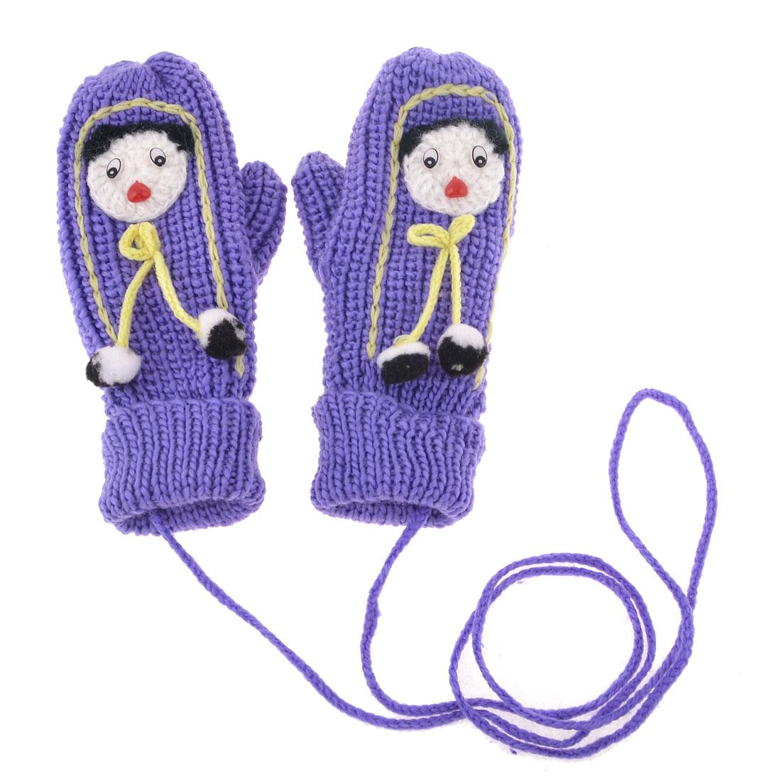 Woman Purple Cartoon Figure Decor Winter String Mitten Hang Neck Gloves Pair