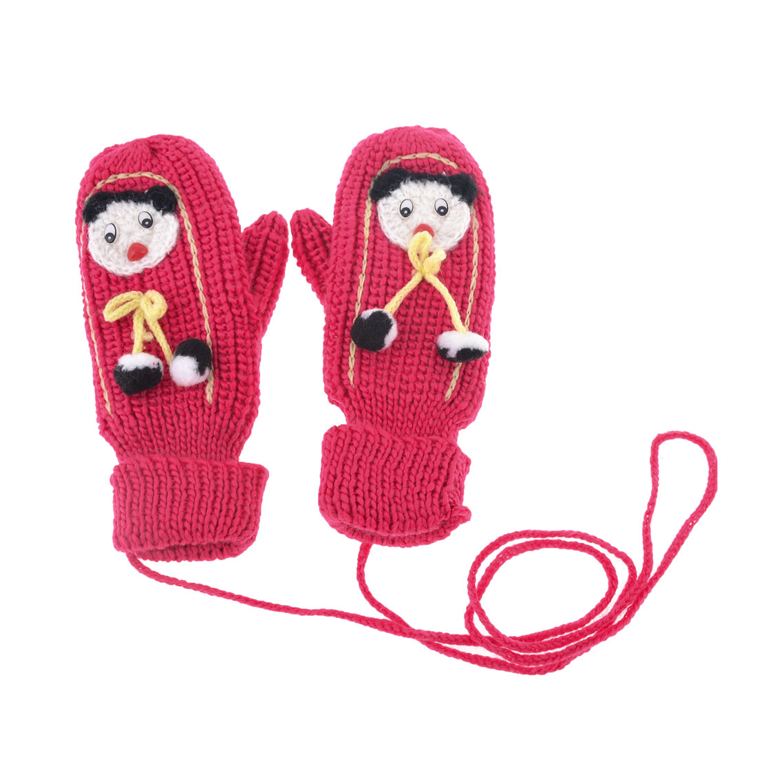 Pair Fuchsia Cartoon Figure Detail Thicken String Mitten Hang Neck Gloves