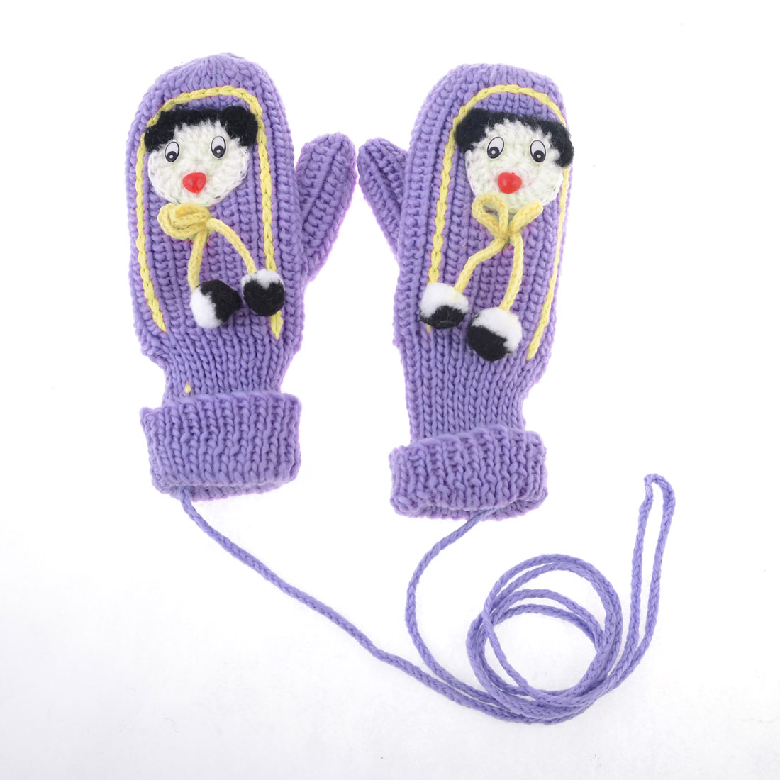 Ligth Purple Cartoon Character Decor Thicken String Mitten Hang Neck Gloves Pair