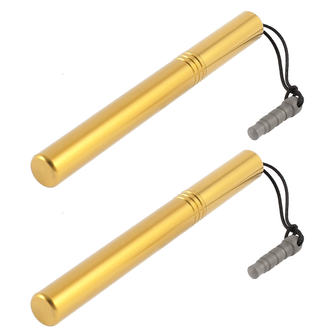 2 x Gold Tone 3.5mm Dust Stopper Touch Screen Ballpoint Pen Stylus for Phone