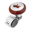 Car Brown Crown Pattern Power Handle Steering Wheel Spinner Knob Silver Tone