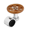 Wooden Color Silver Tone Steering Wheel Aid Knob Round Spinner Handle for Car