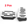 Car Automatic Non-slip Gas Brake Metal Pedal Covers Silver Tone Black 2 Pcs