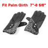 Women Outdoor Lace Decor Full Finger Wrist Warmmer Warm Gloves Black Pair