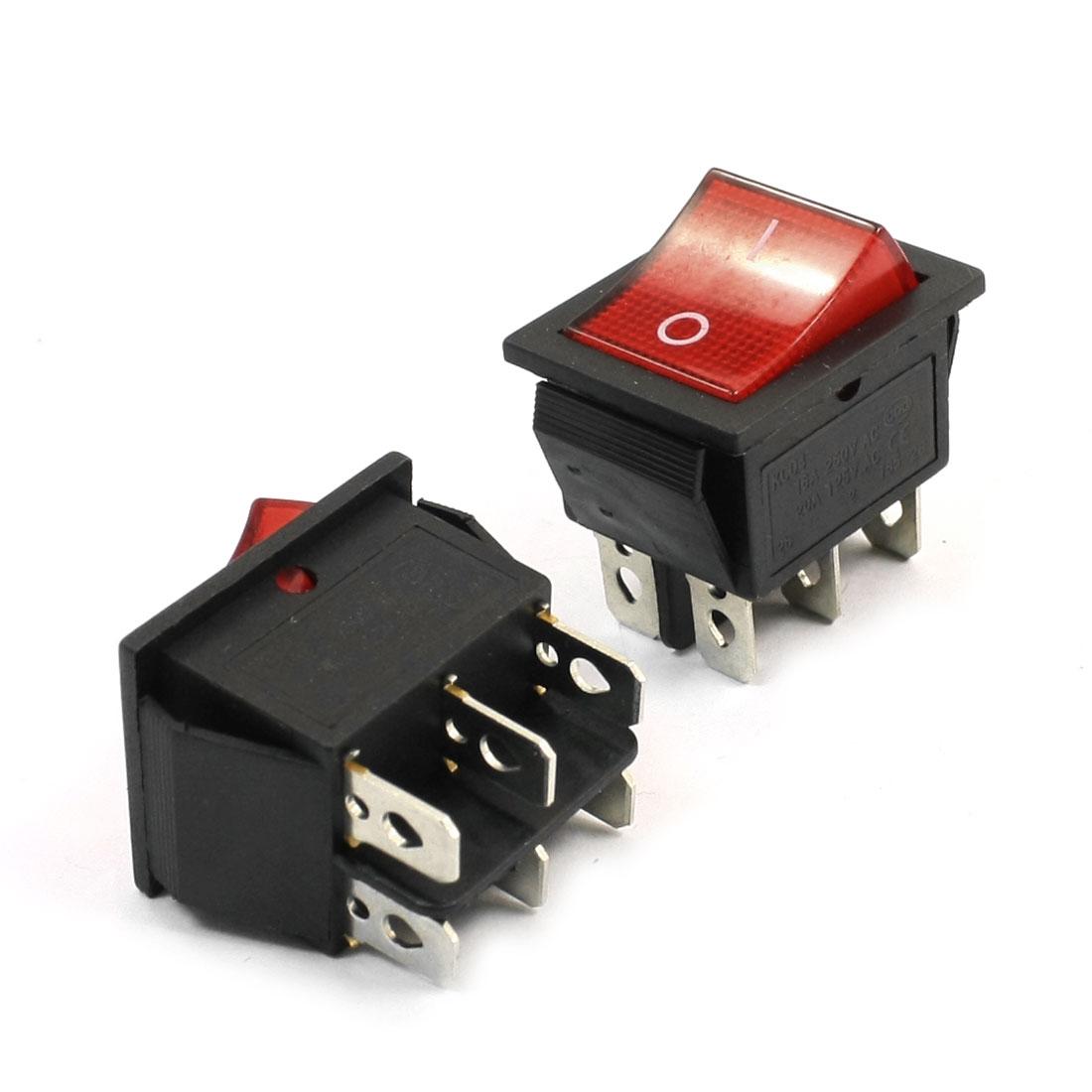 2 x Red Light Illuminated 6 Pin DPST 250VAC 16A 125VAC 20A Rocker Switch