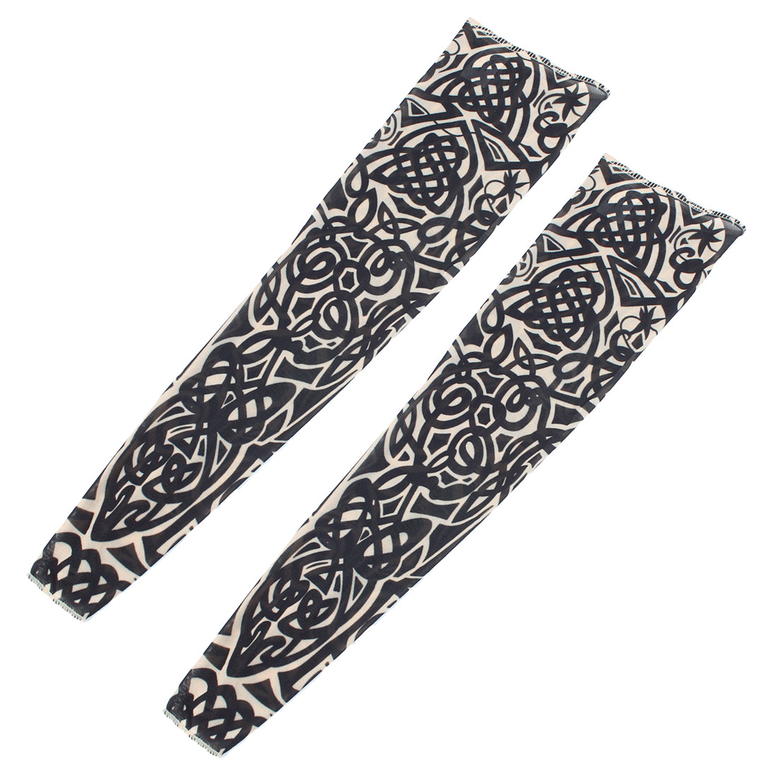 Tribal Loop Style Sun Protection Temporary Tattoo Arm Sleeves Oversleeve 2 Pcs